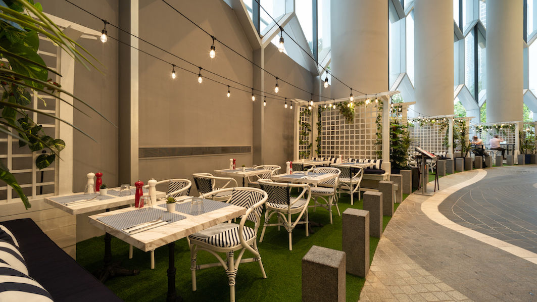 outdoor terrace of So France at Duo Galleria - EDGEPROP SINGAPORE