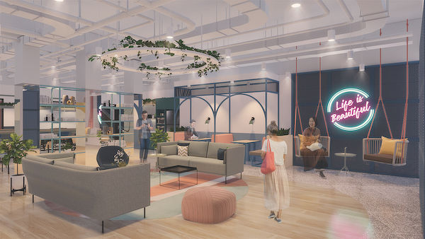 "Artist's impression of the upcoming workspace at The Centrepoint will feature JustCo's pilot ""third-generation centres"", which will see its first pay per minute (PPM) concept (Photo: JustCo) - EDGEPROP SINGAPORE"