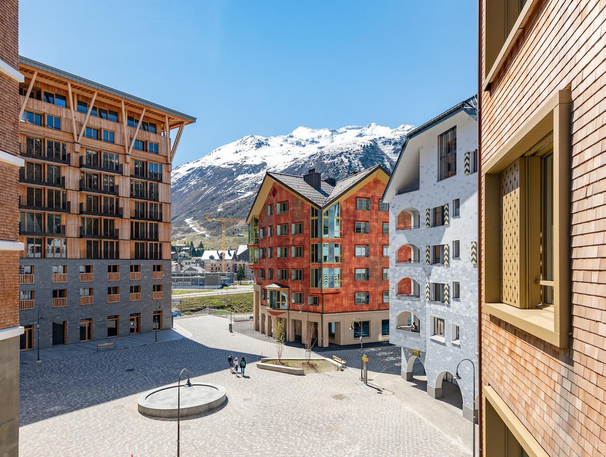 Nine apartment buildings with a total of 165 apartments have been completed, with the 10th scheduled to be completed this summer (Photo: Andermatt Swiss Alps)