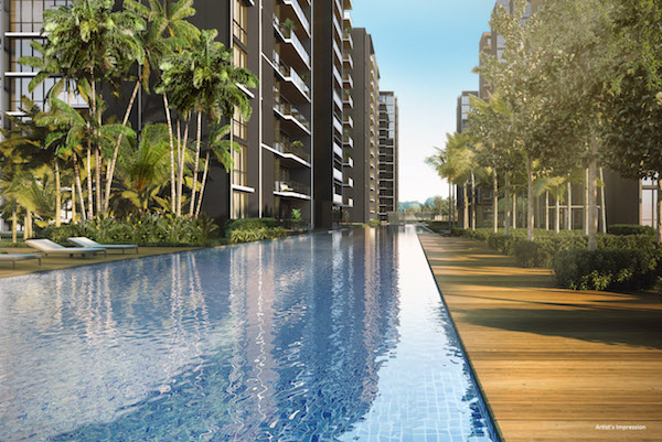 The 100m infinity pool is the central feature in the development. Units on the first level of the two blocks closest to the pool will have direct access to the pool from their balcony (Photo: CDL)