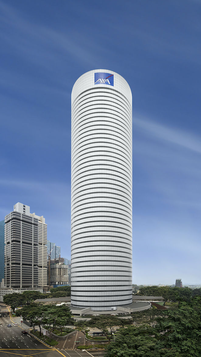 The 50-storey AXA Tower was once the tallest skyscraper in Singapore when it was completed in 1986 (Photo: Perennial Real Estate)