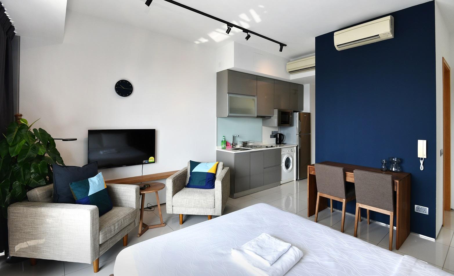 A 506 sq ft studio apartment at Hmlet@Lumiere (Credit: Albert Chua/EdgeProp Singapore) - EDGEPROP SINGAPORE