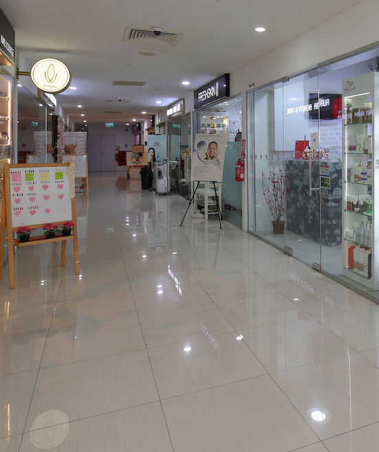 Tenants on the fourth level of Bugis Cube, which are predominantly hair salons, nail parlours, as well as beauty and wellness spas, have also seen a drop in business since February (Photo: Samuel Isaac Chua/EdgeProp Singapore)