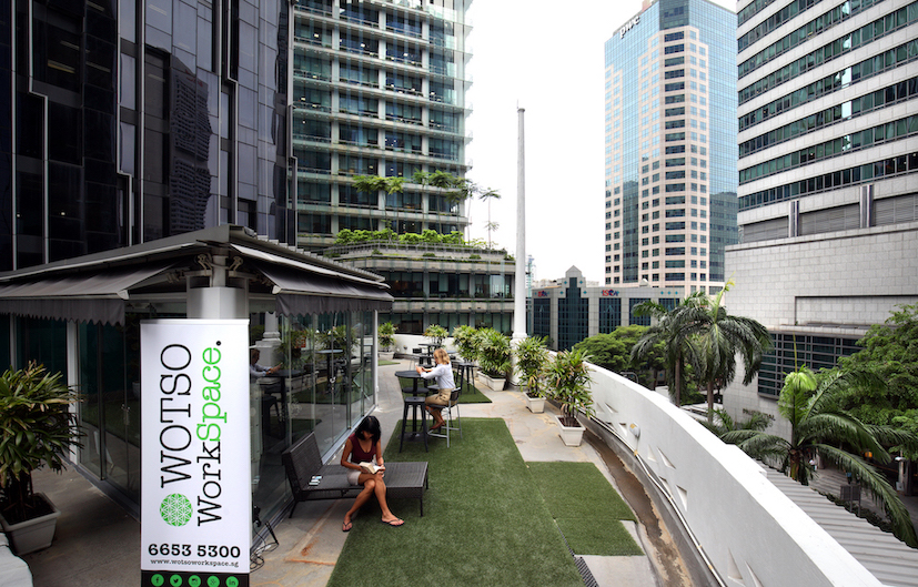 The roof terrace at Wotso's flagship Singapore location, where occupancy was over 80% in the first year of operations (Photo: Samuel Isaac Chua/EdgeProp Singapore)