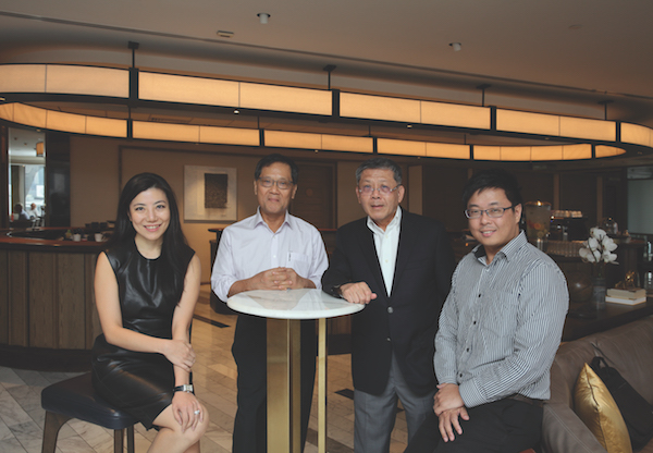 Jaelle Ang of The Great Room (left) with joint developers of Afro-Asia i-Mark, Tan Chin Hoon and Tan Cheng Gay of Afro-Asia Shipping Co. and Brian Poon of Shimizu Corp (Photo: Samuel Isaac Chua/EdgeProp Singapore)