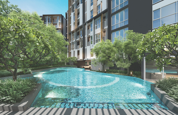 Facilities in the upcoming Centro Condo Bangsaen will include a swimming pool (pictured), gym, landscaped gardens and residents' lounge (Photo: Venture Global Holding)