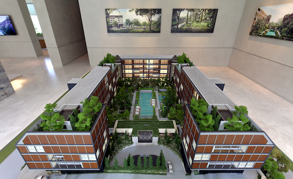 The scale model of the 56-unit Meyerhouse, a joint venture between UOL and Kheng Leong, featuring Singapore-based architectural firm, WOHA Architects; Canada-based interior designers Yabu Pushelberg; and German landscape architects Ramboll Studio Dreiseitl (Photo: Samuel Isaac Chua/EdgeProp Singapore)