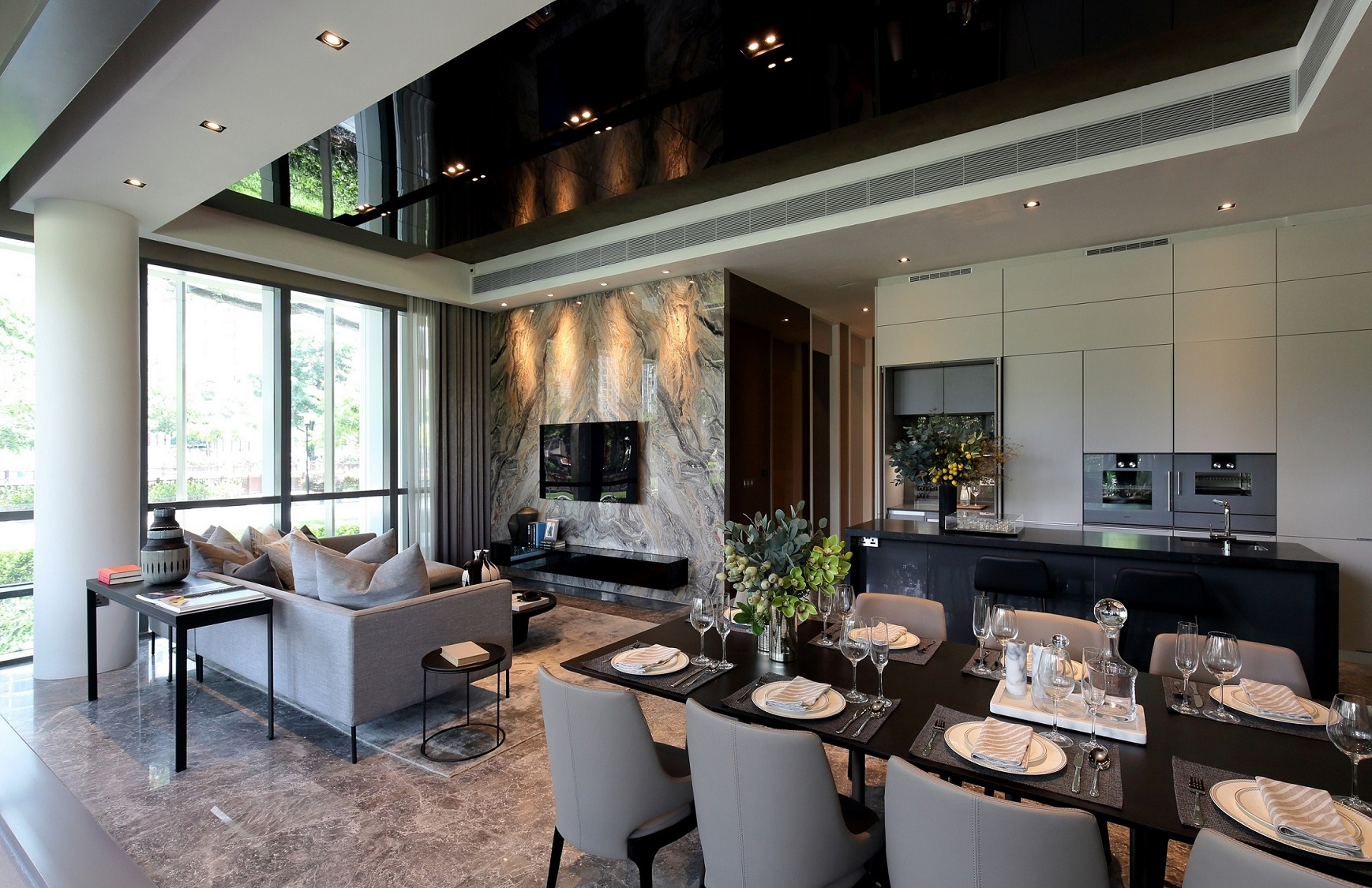 RIVIERE - Showflat of a four-bedroom unit that comes with double-volume ceiling height in the living area  - EDGEPROP SINGAPORE