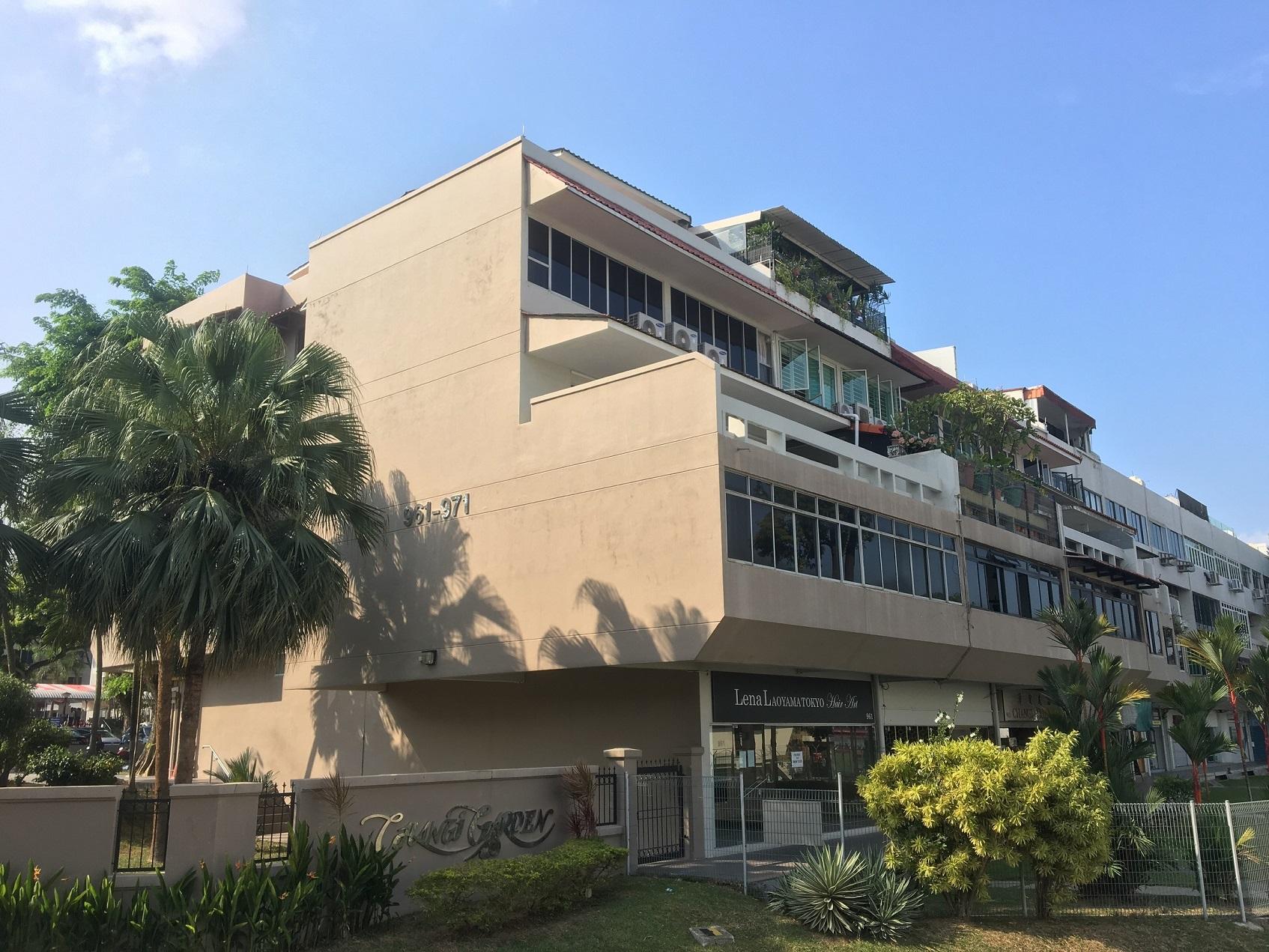 集永成 2017 年 10 月以2.488亿美元整体购买原樟宜花园,将其重新开发为混合用途项目Parc Komo(图片来源:ET&Co) - EDGEPROP SINGAPORE