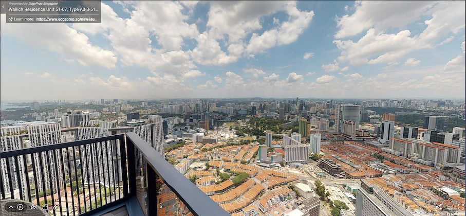 Screenshot of the actual view from the three-bedroom unit on the 53rd floor of Wallich Residence (Photo: Samuel Isaac Chua/EdgeProp Singapore)