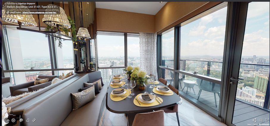Screebshot of the dining area of the three-bedroom unit at Wallich Residence, which has an adjoining balcony (Photo: Samuel Isaac Chua/EdgeProp Singapore)