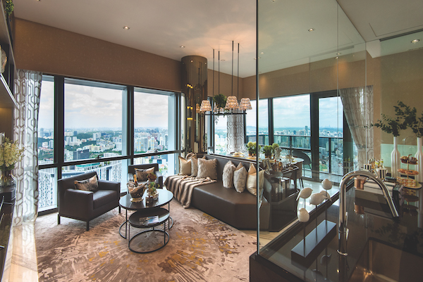 City views from the living room of a three-bedroom show suite designed by SuMisura at Wallich Residence (Photo: Albert Chua/EdgeProp Singapore) - EDGEPROP SINGAPORE