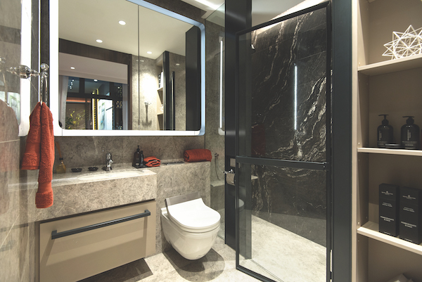 Van Holland  - Master bathrooms will have a feature wall of bookmatched marble (Photo: Albert Chua/EdgeProp Singapore)