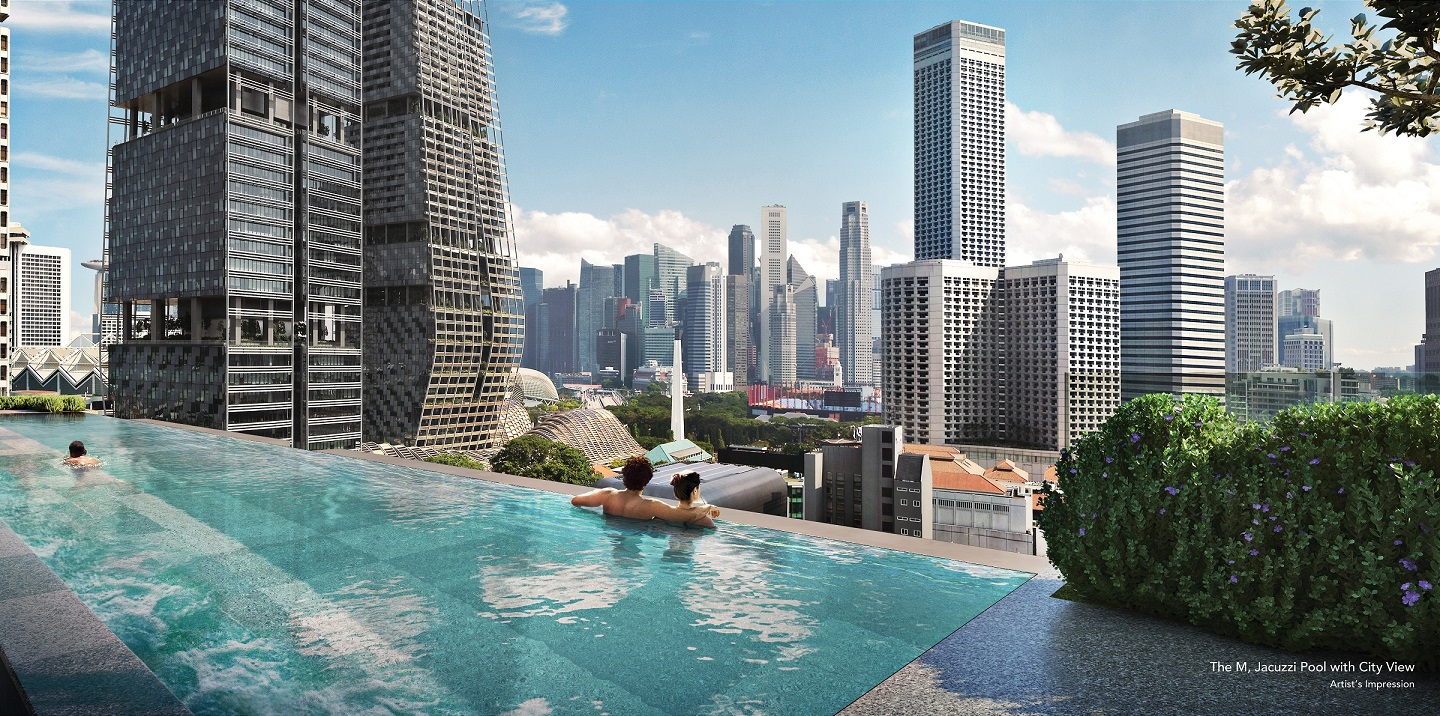 Views of the city area from the 50m infinity-edge swimming pool (Photo: Wing Tai Asia)