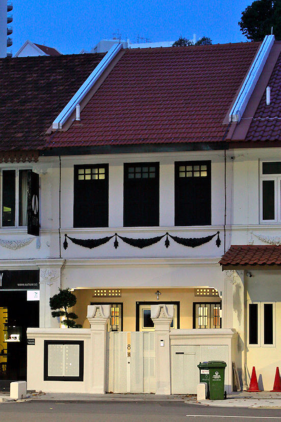 The exterior fronting Hoot Kiam Road has been conserved, with original doors and windows (Photo: Samuel Isaac Chua/EdgeProp Singapore)