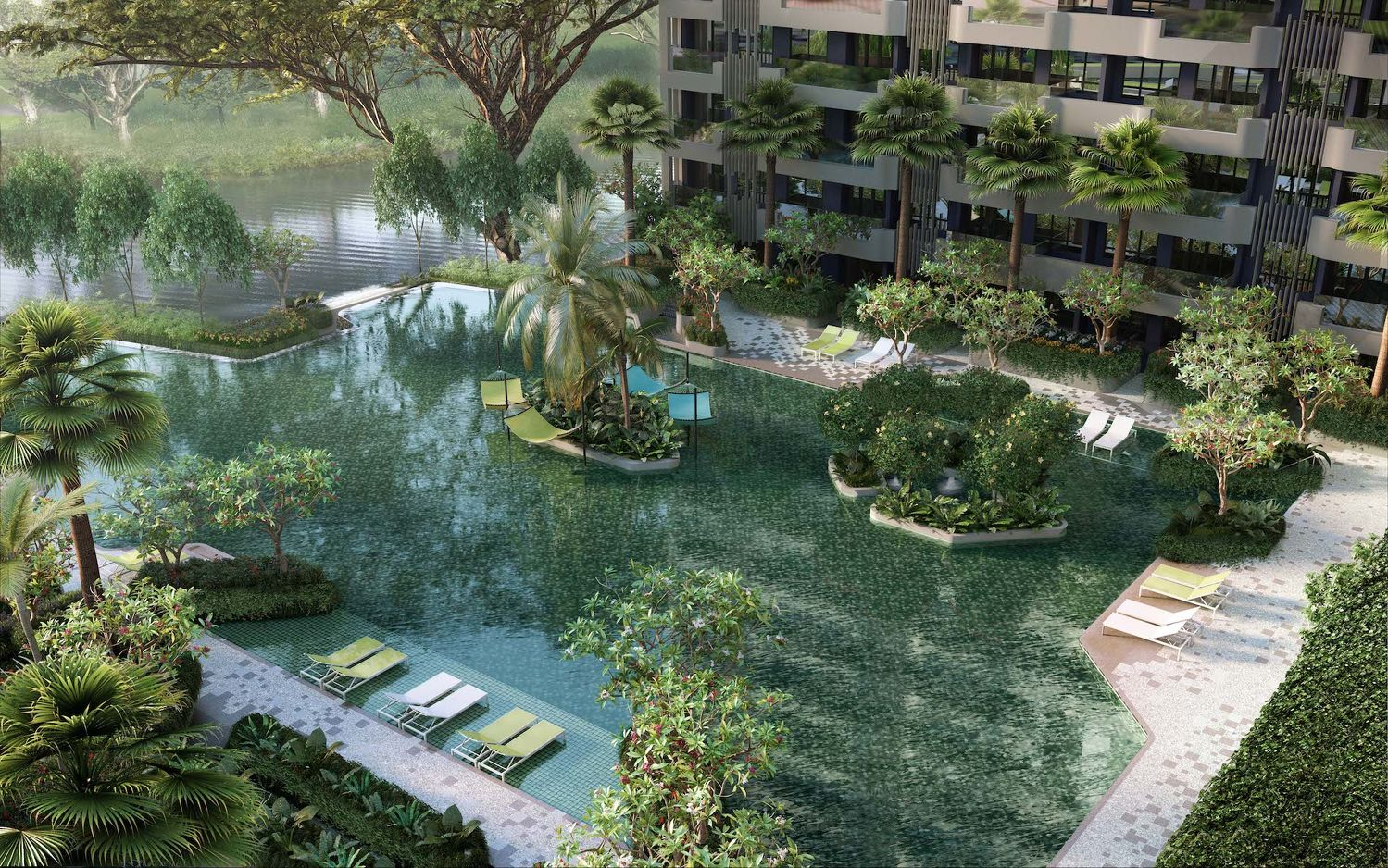 EDGEPROP SINGAPORE - The main pool of The Tre Ver, which has a 200m frontage of Kallang River (Picture: UOL) - EDGEPROP SINGAPORE