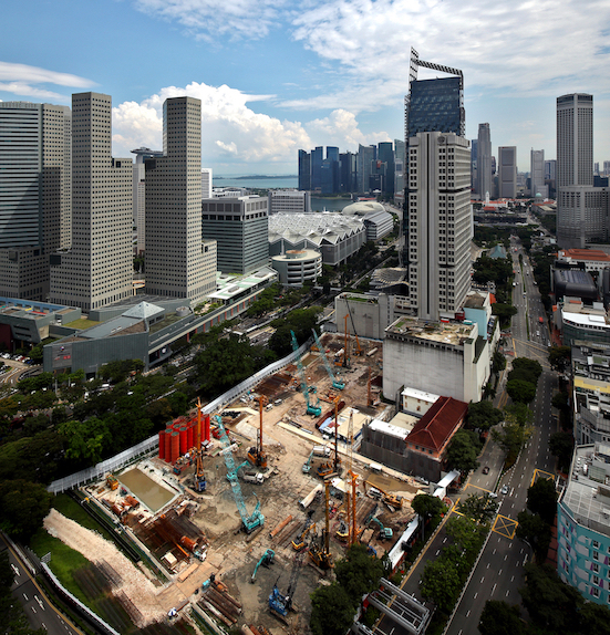 The site of Guoco Midtown integrated development and the neighbouring Shaw Tower commercial building, which will also be redeveloped (Photo: Samuel Isaac Chua/EdgeProp Singapore)