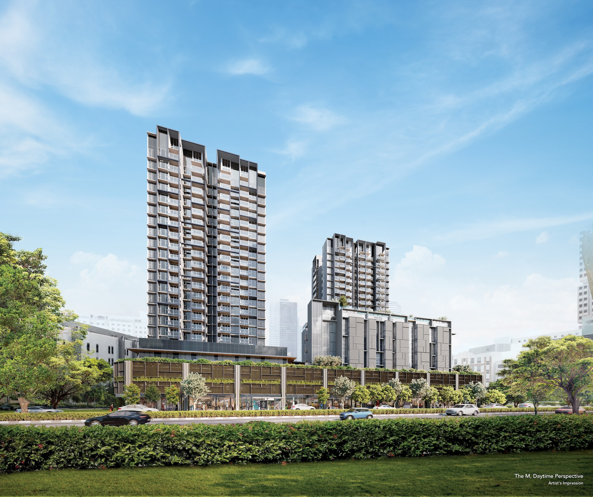 Artist's impression of the 522 units at The M, with two 20-storey residential towers and one six-storey residential block located on top of the commercial podium and carpark (Photo: Wing Tai Asia)