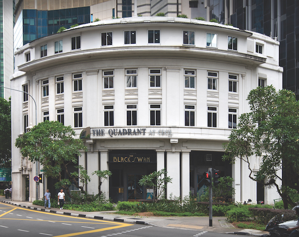 The Quadrant at Cecil Street, which has co-working space at the top two levels of the building, which was previously operated by Wotso, and now ClubCo (Photo: Albert Chua/EdgeProp SIngapore)