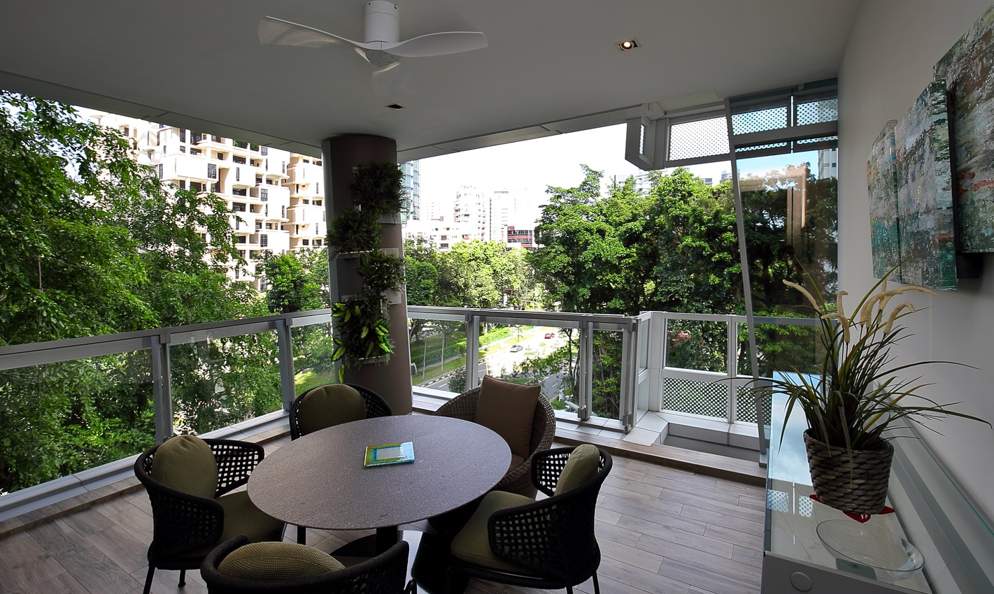 View of the trees from the balcony adjoining the living room (Photo: Samuel Isaac Chua/EdgeProp Singapore)