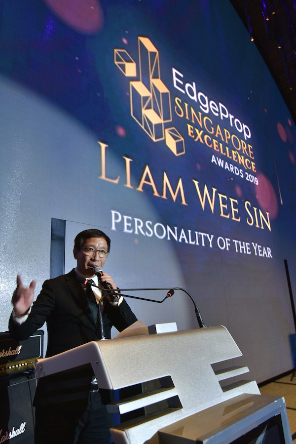 Liam won the Personality of the Year award at the EdgeProp Singapore Excellence Awards 2019; UOL Group also won the top developer award that same evening (Photo: Albert Chua/ EdgeProp Singapore) - EDGEPROP SINGAPORE