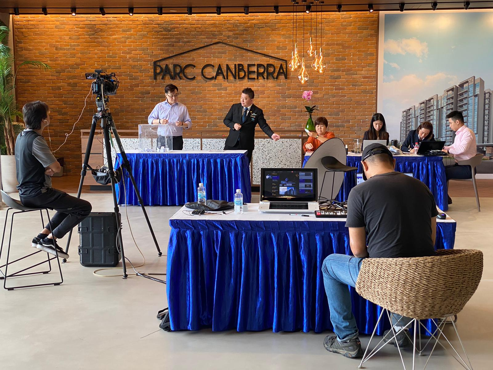 Balloting of units at Parc Canberra on Feb 14, which was filmed and broadcast live to all those who had applied online and logged in (Photo: Hoi Hup Realty)