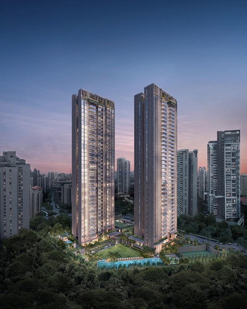 由Jean Francois Milou设计的原太平洋公寓的重建项目The Avenir是一座36层的双住宅楼 (图片: 丰隆控股)。