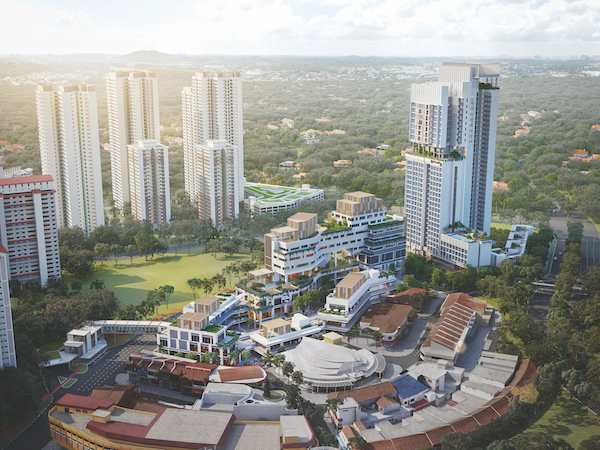 Located in the Holland Village enclave, the site for the entire mixed-use development has a maximum gross floor area of 664,300 sq ft (Credit: Far East Organization) - EDGEPROP SINGAPORE