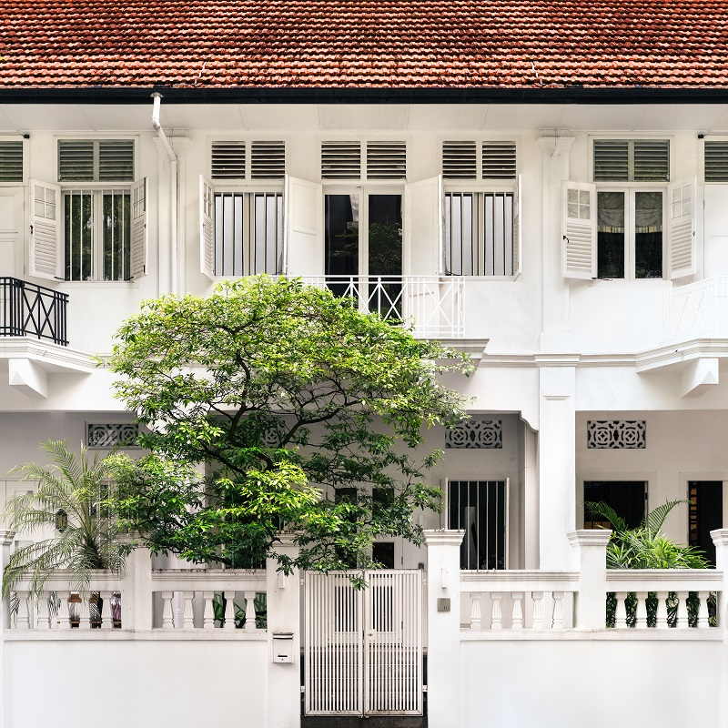Exterior of the conserved terrace house on Cairnhill Road