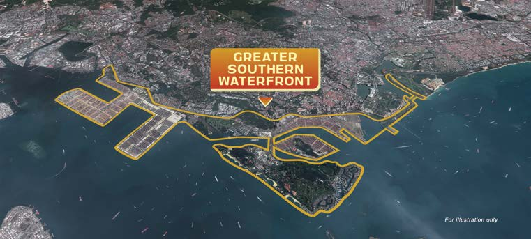 GREATER SOUTHERN WATERFRONT - The Greater Southern Waterfront will cover a 30km coastline stretching from Pasir Panjang terminal to Gardens by the Bay East (Credit: Prime Minister's Office Singapore) - EDGEPROP SINGAPORE