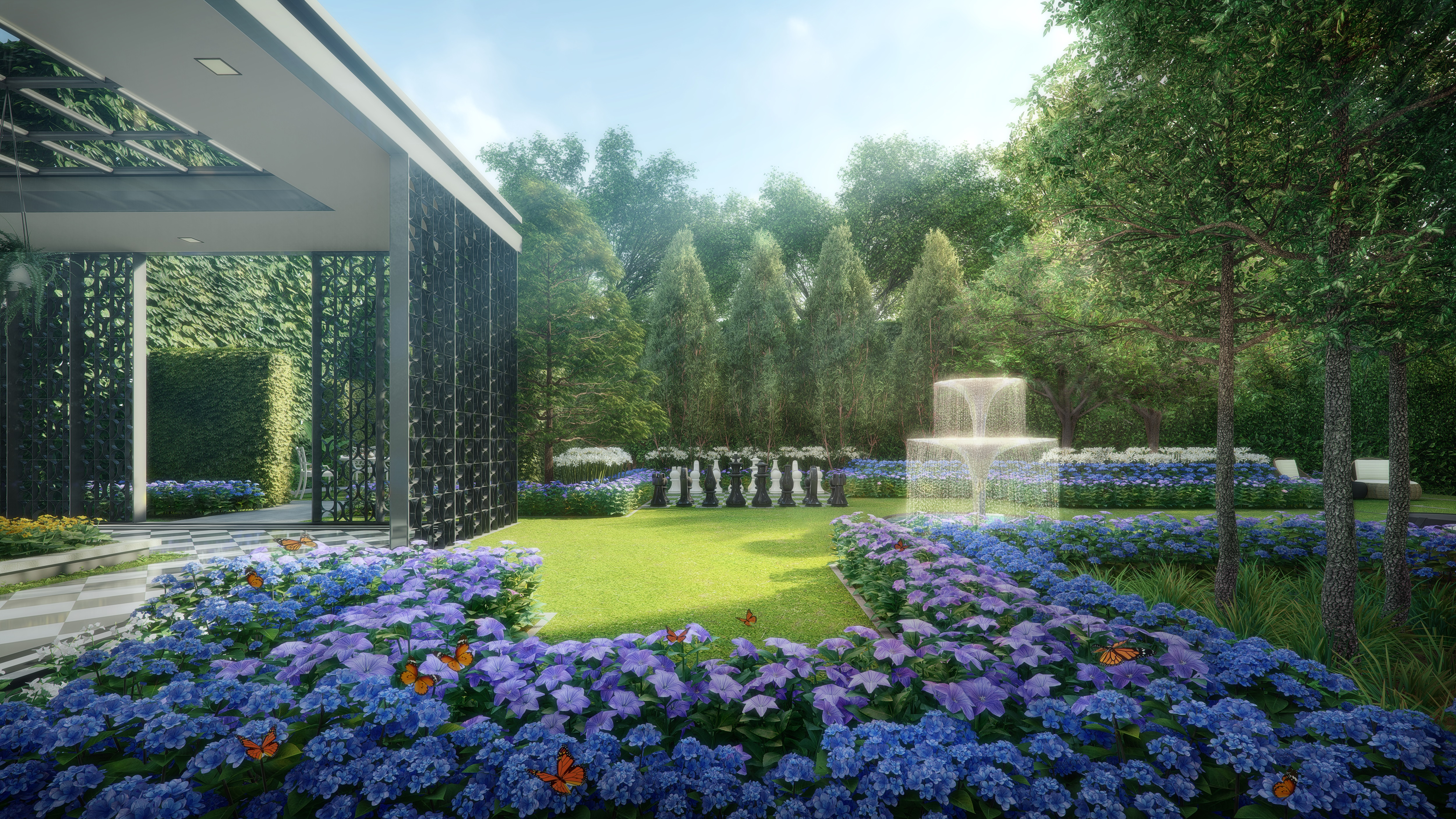 PARK COLONIAL - At the flower garden at Park Colonial, residents can enjoy their afternoon tea