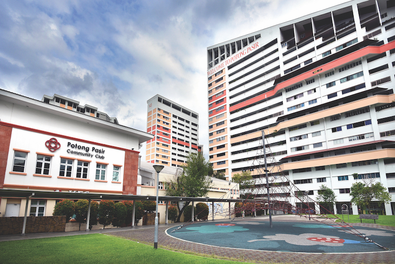 "POTONG PASIR - The ""spider-web"" play structure right outside Potong Pasir Community Club is a favourite spot for students"