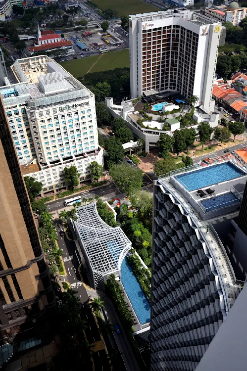 The view of the swimming pools from a 42nd-floor unit at DUO Residences