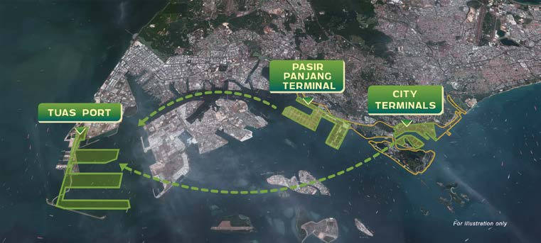 GREATER SOUTHERN WATERFRONT - The city terminals will be relocated to Tuas Port by 2027, while the Pasir Panjang Terminal will move to Tuas by 2040 (Credit: Prime Minister's Office Singapore) - EDGEPROP SINGAPORE