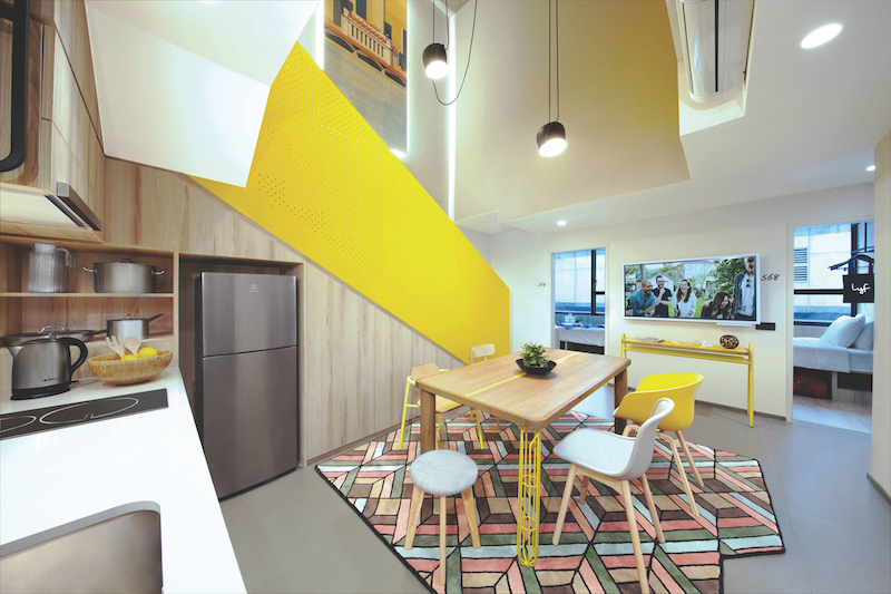 The six-bedroom duplex apartment at lyf Funan Singapore is comfortable enough for even 13 people (Credit: The Ascott Limited)