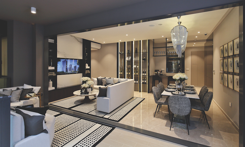 PARC CLEMATIS - The living and dining area of a four-bedroom show unit (Credit: Samuel Isaac Chua/ EdgeProp Singapore)
