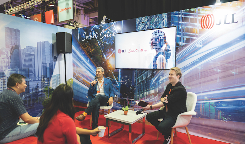 JLL SINGAPORE - Charles Reed Anderson (left), founder of Internet of Things (IoT) consultancy Charles Reed Anderson and Associates, and Ben Hamley, JLL's Asia Pacific lead for future of work, speaking at JLL's Smart City Suite at Innovfest Unbound 2019