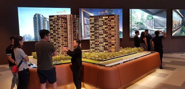 spaced out viewings -  The Kopar sales gallery where the developer has limited the number of people per group to just five, and a maximum of 10 groups per session (Photo: CEL Development)
