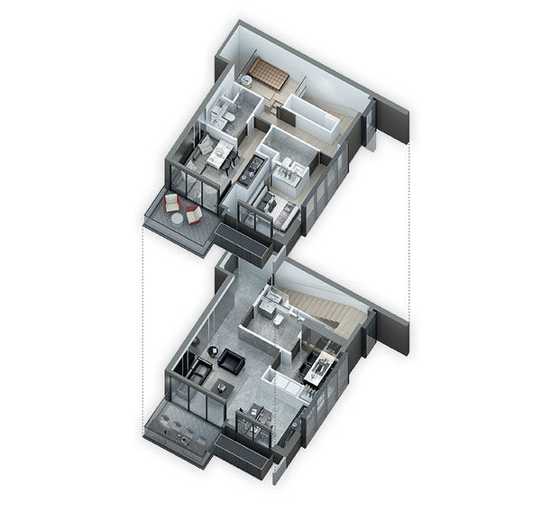 duplex units in midtown bay - An illustration of how the lower floor of the duplex unit in Midtown Bay can be used as a home office and the upper floor can be kept for residential use (Photo: GuocoLand) - EDGEPROP SINGAPORE