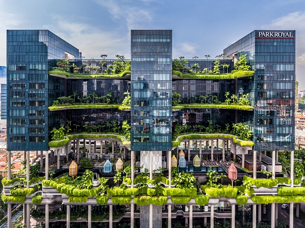 Located in Singapore's CBD, Parkroyal Collection Pickering has bagged numerous awards for its design focus on sustainability (Credit: Pan Pacific Hotels Group)