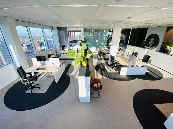 EDGEPROP SINGAPORE - A prototype of the office of the future, called the 'six-feet office' by Cushman & Wakefield, which embodies rules of conduct allowing staff to work safely within an office environment (Credit: Cushman & Wakefield)