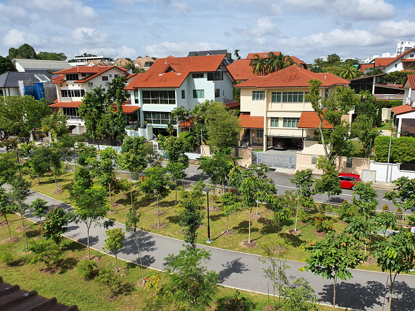 The detached house is located on elevated ground, overlooking the greenery of the park connector (Credit: Edmund Tie) - EDGEPROP SINGAPORE