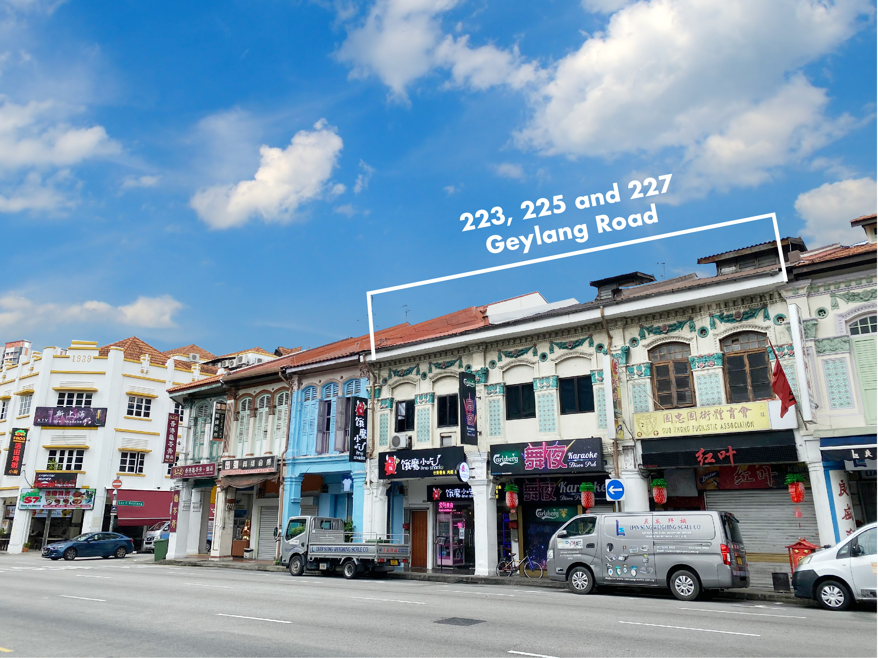 EDGEPROP SINGAPORE - The three shophouses at 223, 225 and 227 Geylang Road are to be sold collectively from $12 million (Credit: CBRE)