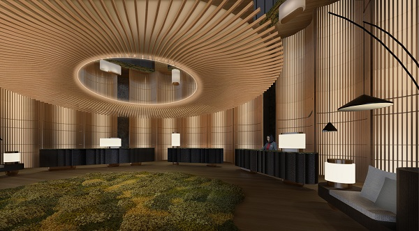 The reception desk will be decked with elements of natural timber, and the carpet will emulate green moss (Credit: Pan Pacific Hotels Group)