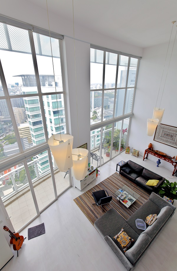 The first floor ceiling soars about 7m in height and has floor-toceiling windows that take advantage of the views (Credit: Samuel Isaac Chua/ The Edge Singapore)  - EDGEPROP SINGAPORE