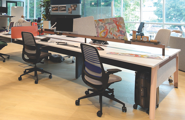 Work desks in Steelcase's open office area (Credit: Samuel Isaac Chua/ The Edge Singapore)
