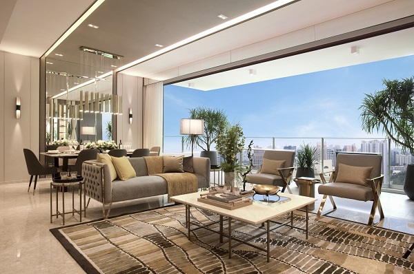 The Avenir - Artist impression of a four-bedroom with family room unit (Credit: Hong Leong Holdings)