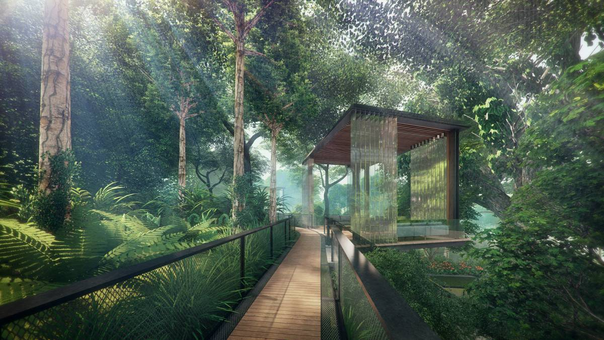 At Stirling Residences, landscape features include three forest themes – the Fern Forest, Tropical Forest and Rain Forest (Credit: Logan Property)
