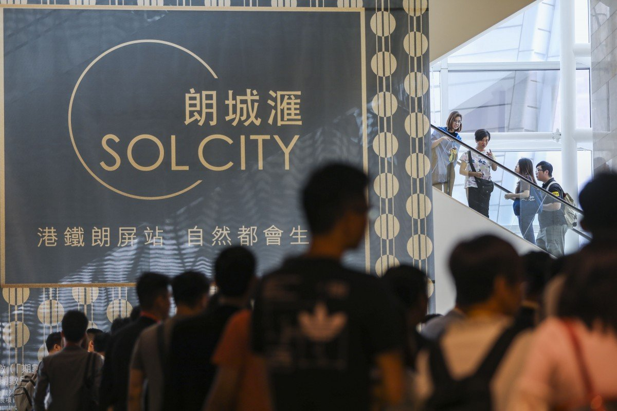Potential buyers of Chinachem Group's Sol City phase two development in Yuen Long are seen at the sales office at Nina Tower in Tsuen Wan, on October 28, 2018. Photo: Edward Wong - EDGEPROP SINGAPORE