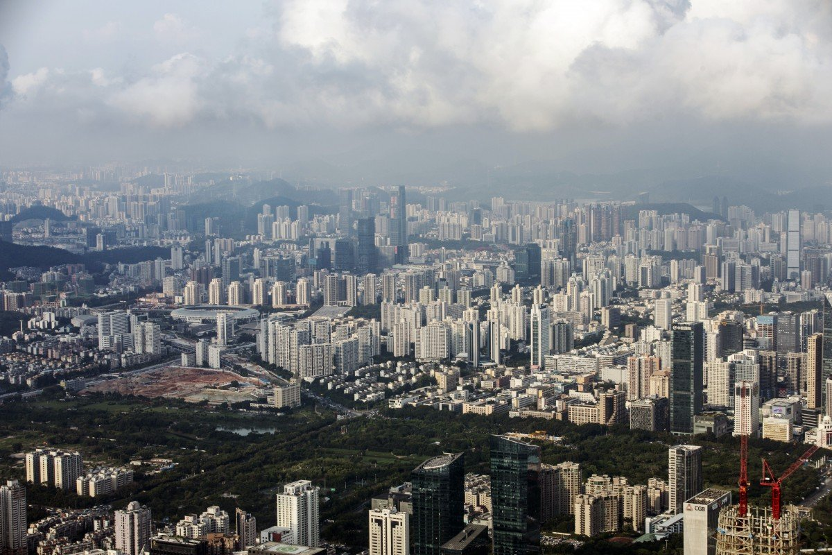 Shenzhen's skyline as seen from the observation deck of the city's Ping An Finance Centre on Thursday, August 15, 2019. Photo: Bloomberg